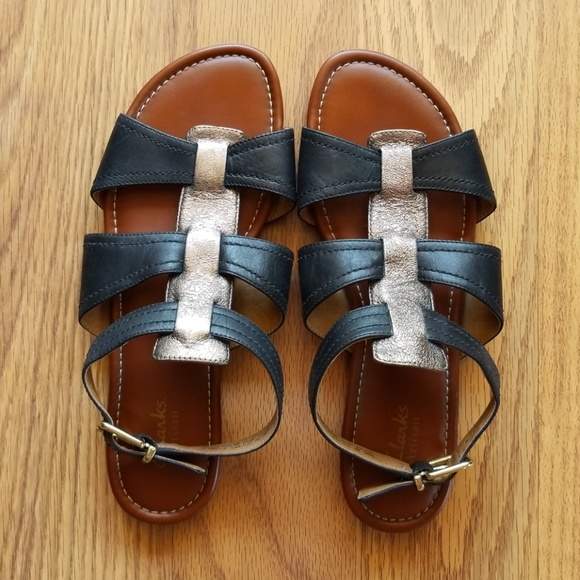 40ef14461 Clarks Shoes - Gorgeous Black   Gold Sandals